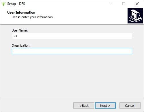 DFS User Nameは必須でニックネームなどでOK
