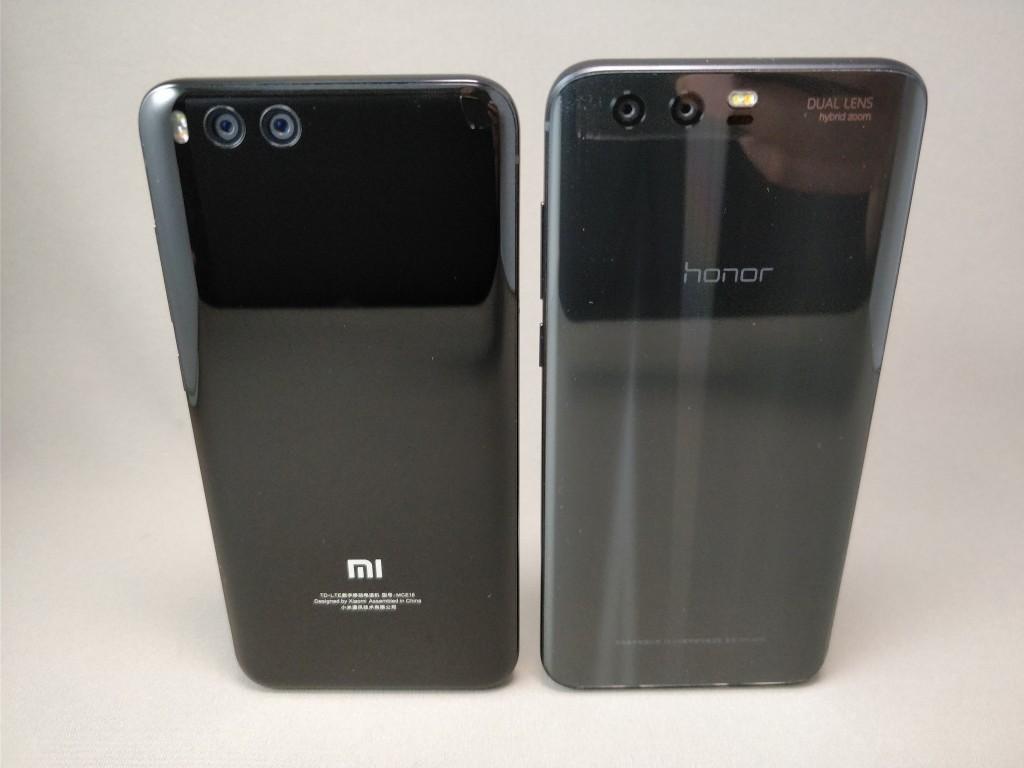 Xiaomi Mi6 & Huawei Honor 9 裏 斜め