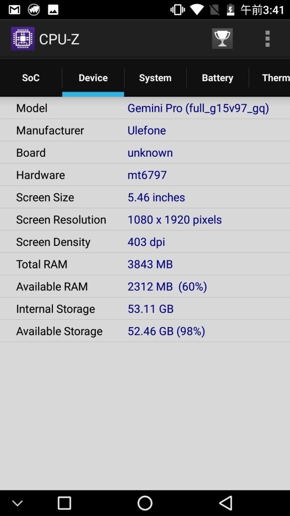 Ulefone Gemini Pro CPU-Z 4