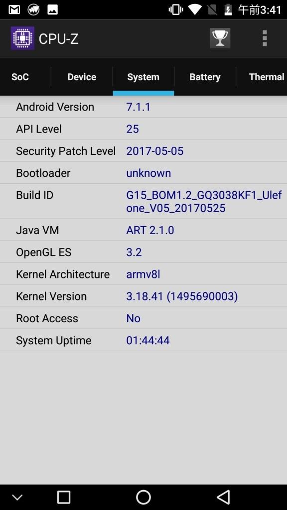 Ulefone Gemini Pro CPU-Z 3
