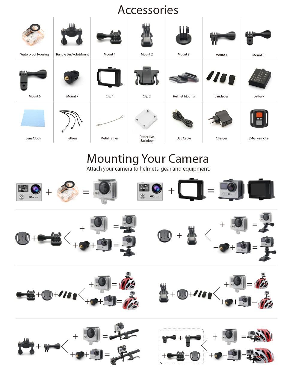 EKEN H8s 4K アクションカメラ パーツ