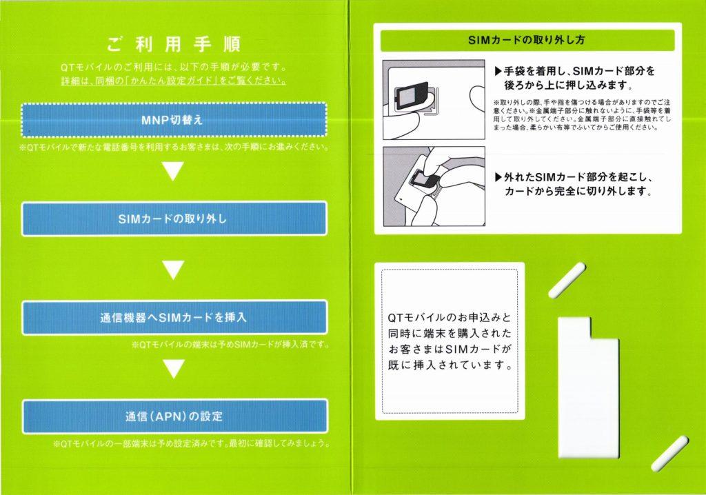 QTモバイル SIMパッケージ 内側