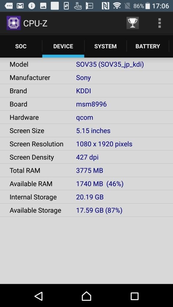 Xperia XZs CPU-Z 3
