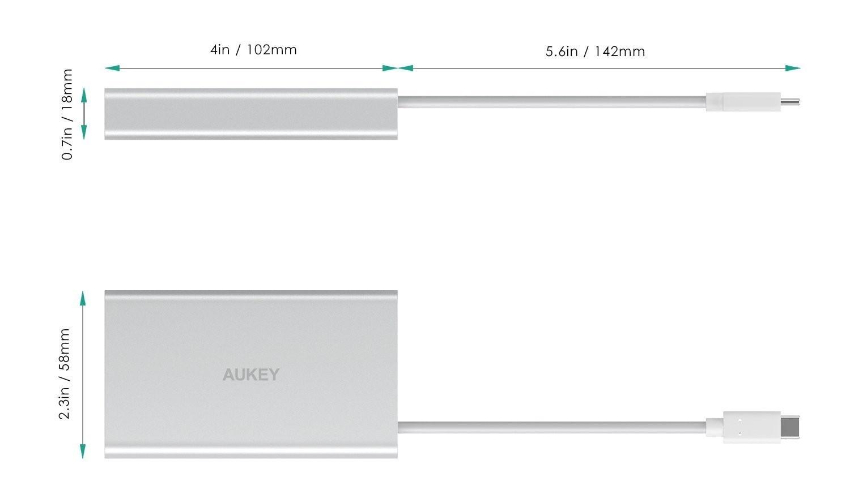 AUKEY USB-C PDハブ CB-C55  サイズ