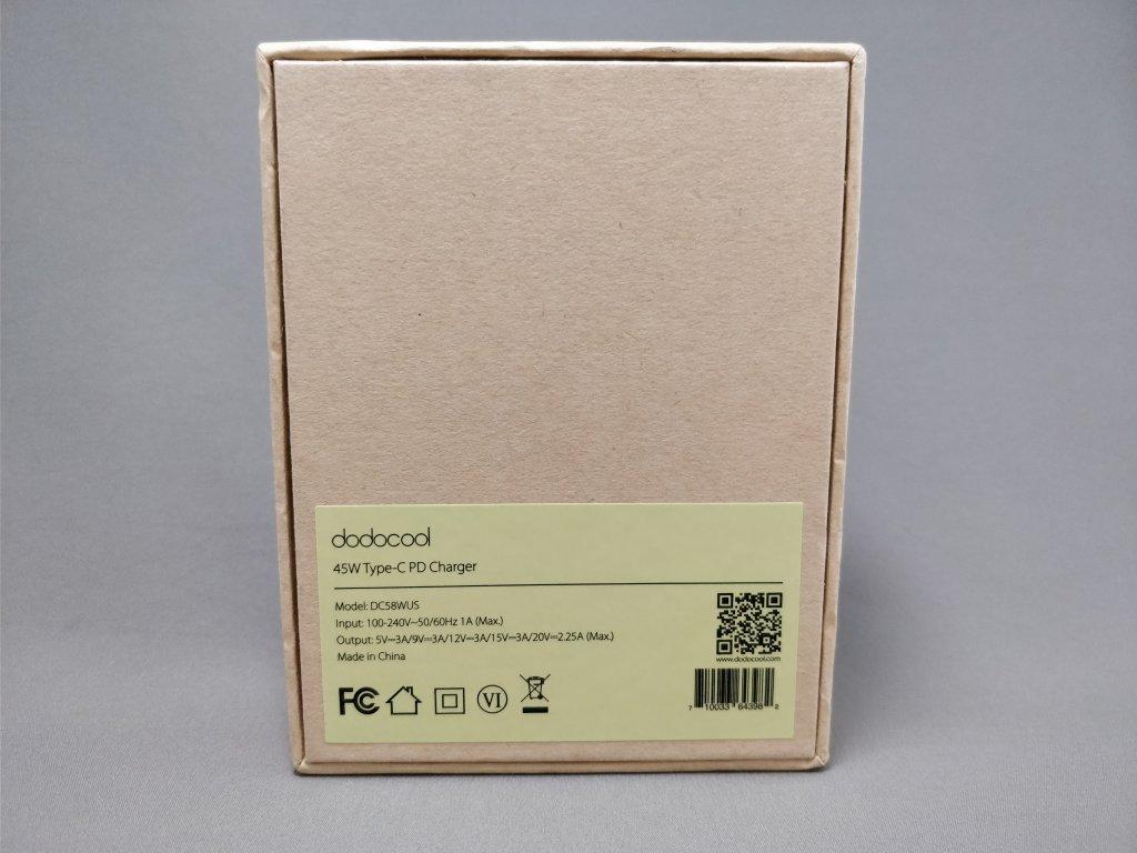 dodocool USB Type-Cアダプタ 化粧箱 裏