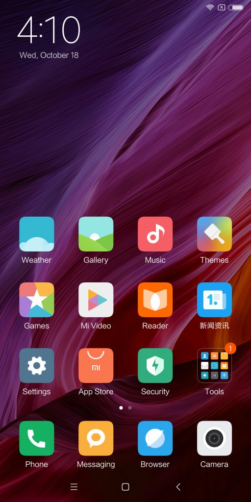 Xiaomi Mi MIX 2 ホーム画面