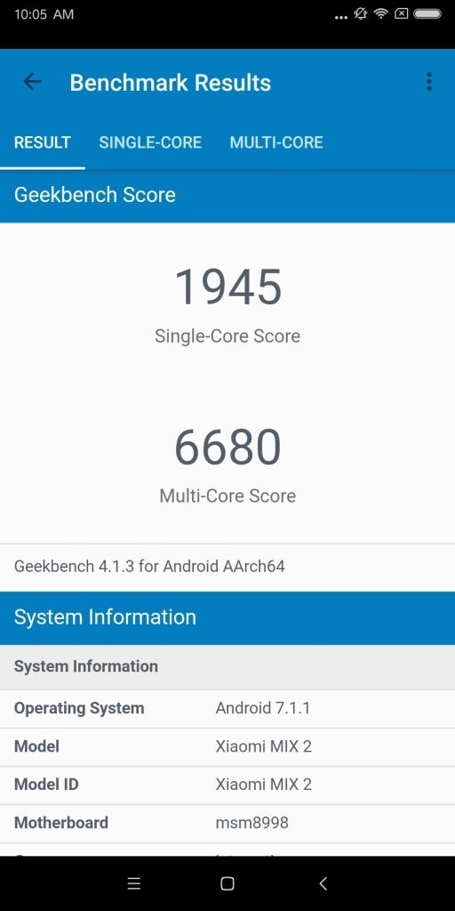 Xiaomi Mi MIX 2 Geekbench1945