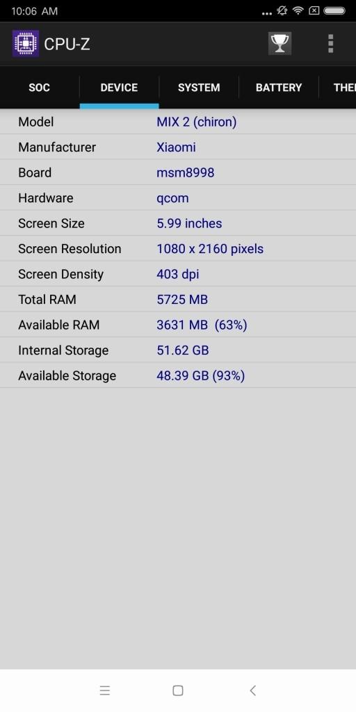 Xiaomi Mi MIX 2 CPU-Z 2