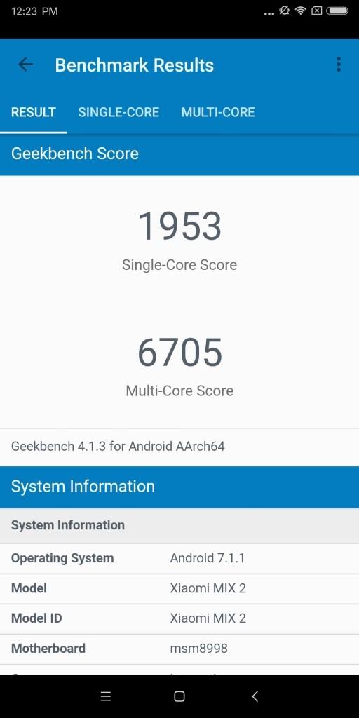 Xiaomi Mi MIX 2 Geekbench1953