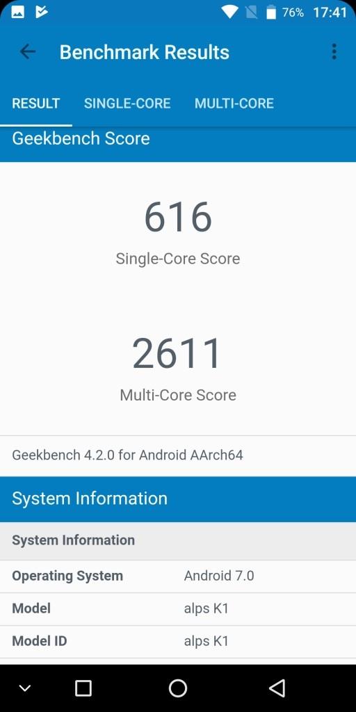 KOOLNEE K1 GeekBench 616