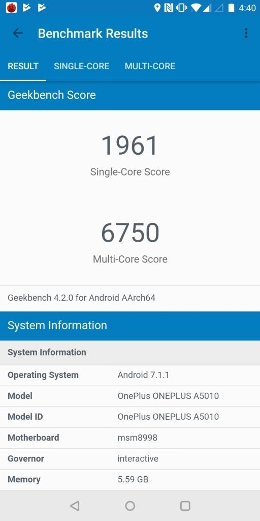 OnePlus 5T Geekbench1961