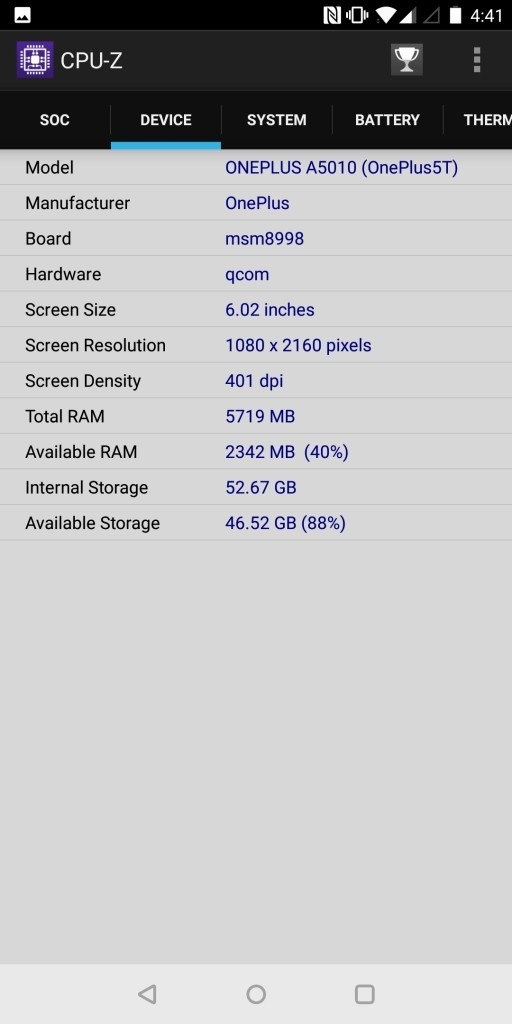 OnePlus 5T CPU-Z 3
