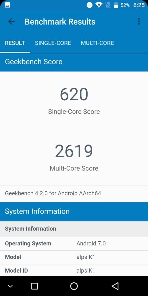 KOOLNEE K1 GeekBench 620