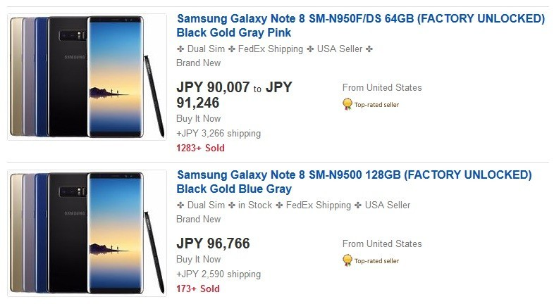 Samsung Galaxy Note 8 SM-N950F/DS 64GB (FACTORY UNLOCKED) Black Gold Gray Pink