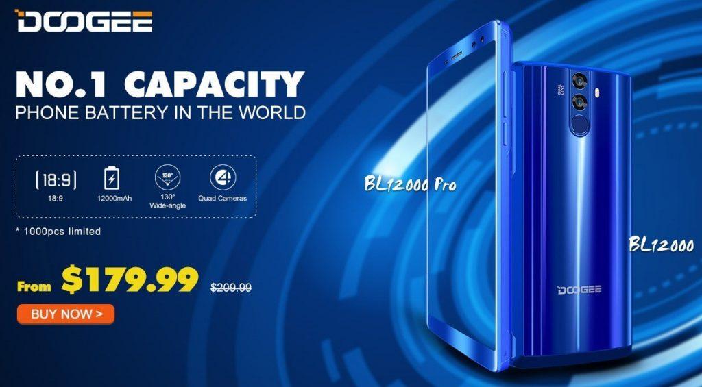 大容量12000mAhバッテリー DOOGEE BL12000 Pro プレセール