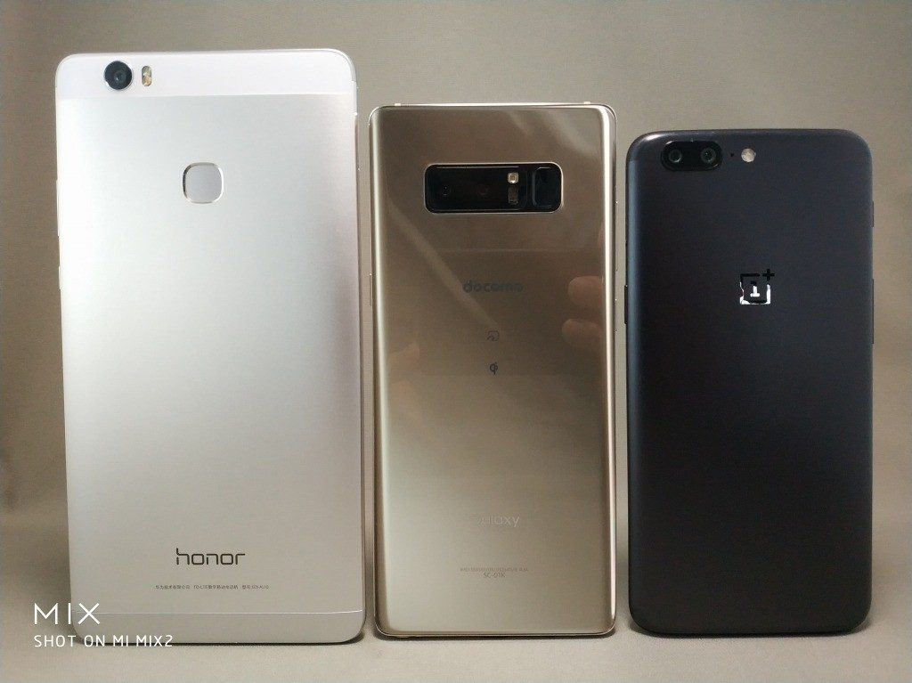 6インチ台16:9Huawei honor note 8 VS 18:9 Galaxy note 8・OnePlus 5Tとサイズ比較 裏