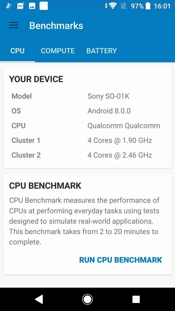 Sony Xperia XZ1 GeekBench