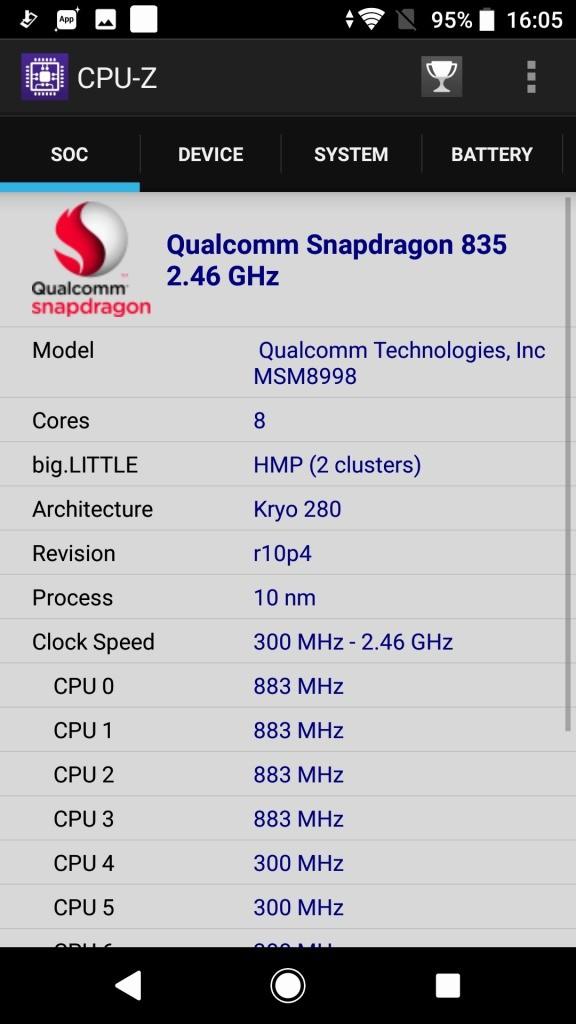 Sony Xperia XZ1 CPU-Z1