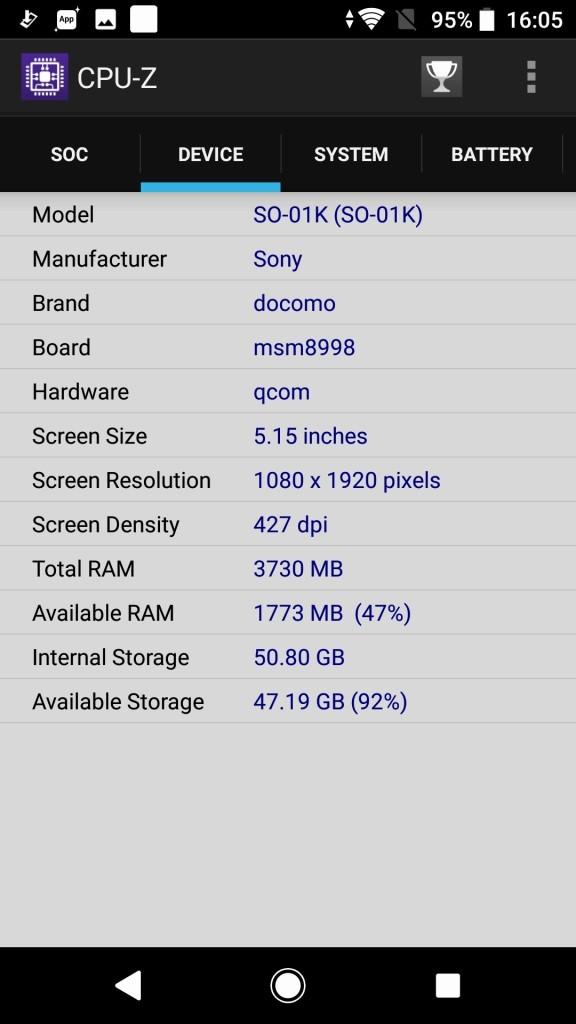 Sony Xperia XZ1 CPU-Z3