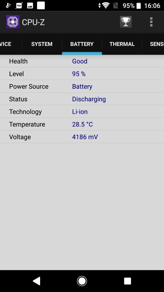 Sony Xperia XZ1 CPU-Z6