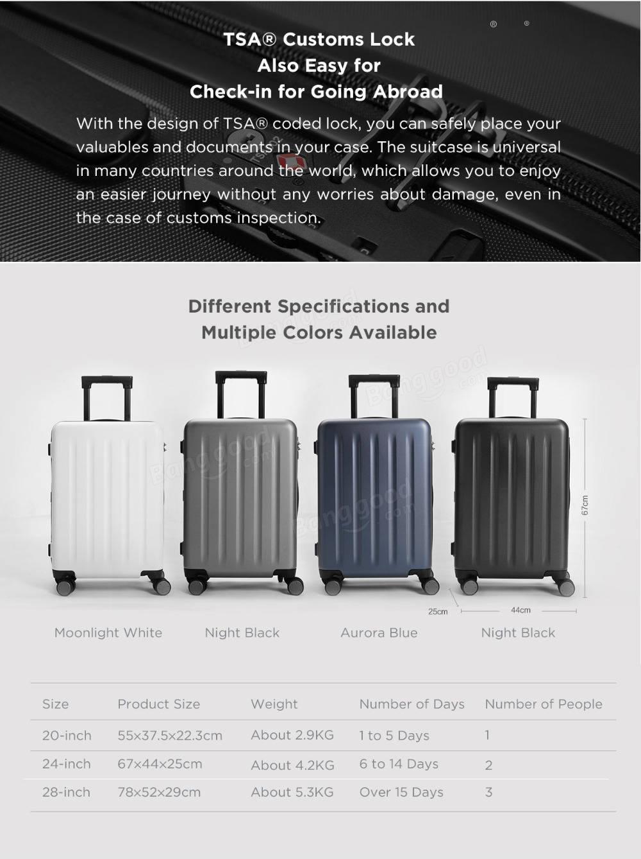Xiaomi 90FUN 24インチ ハードキャリーバッグ  サイズ