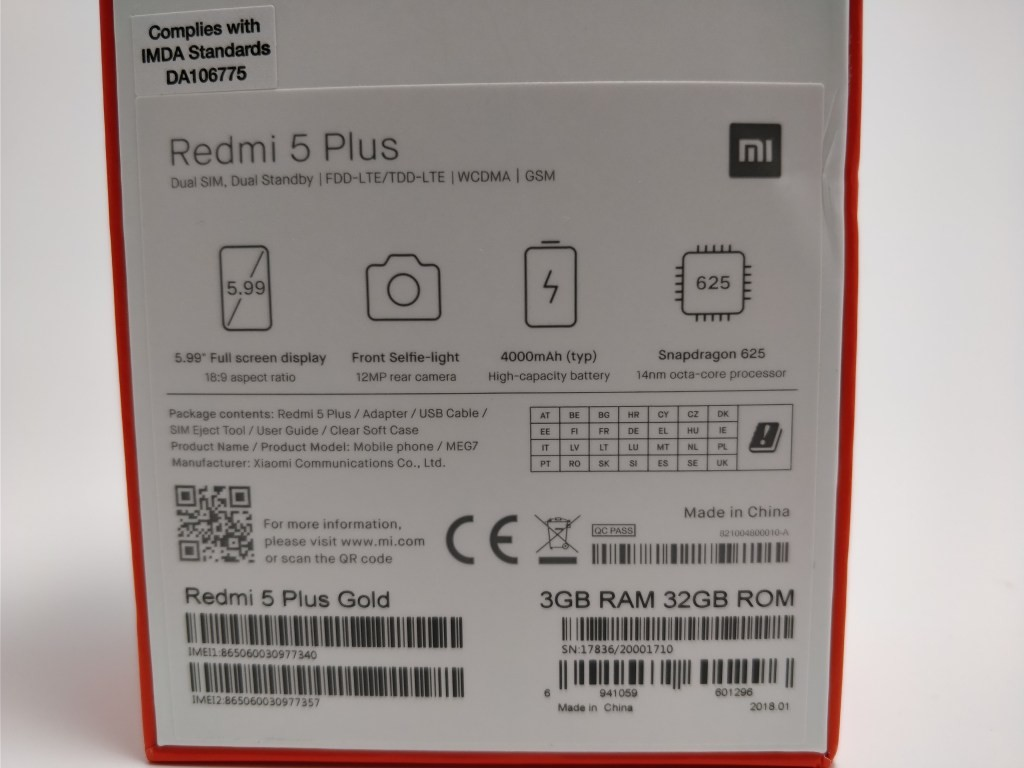 Xiaomi Redmi 5 Plus 化粧箱 裏 ズーム