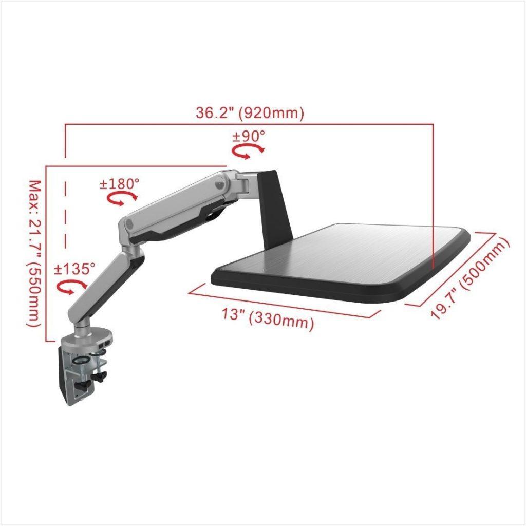 Loctek ラップトップスタンド 10-17インチ対応S2L 本体 サイズ
