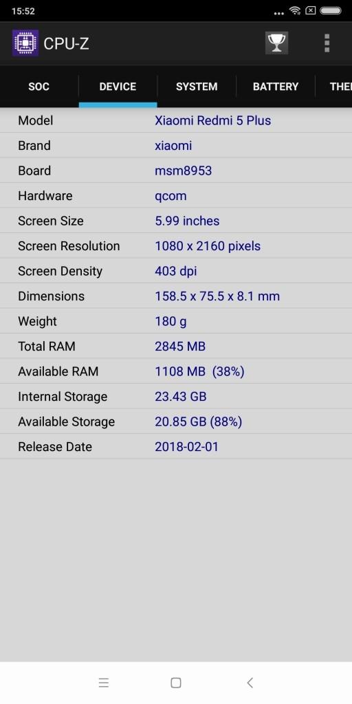Xiaomi Redmi 5 Plus CPU-Z 4