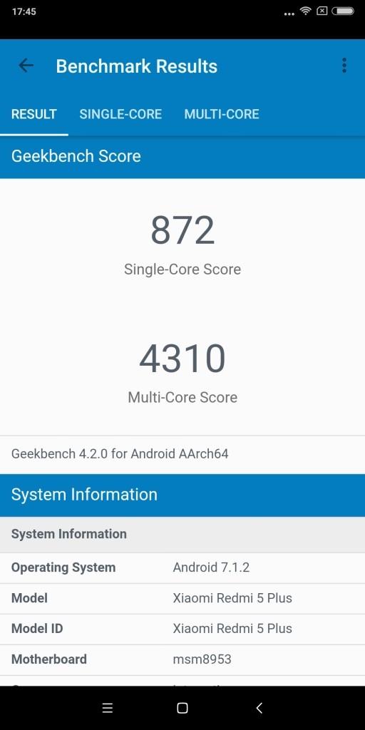 Xiaomi Redmi 5 Plus GeekBench