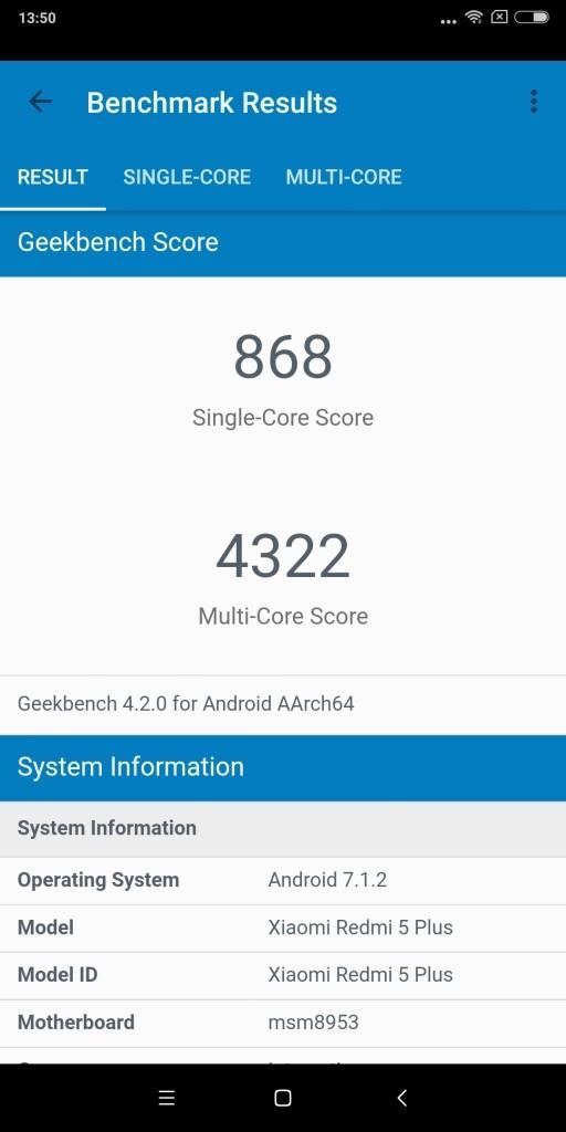 Xiaomi Redmi 5 Plus GeekBench868