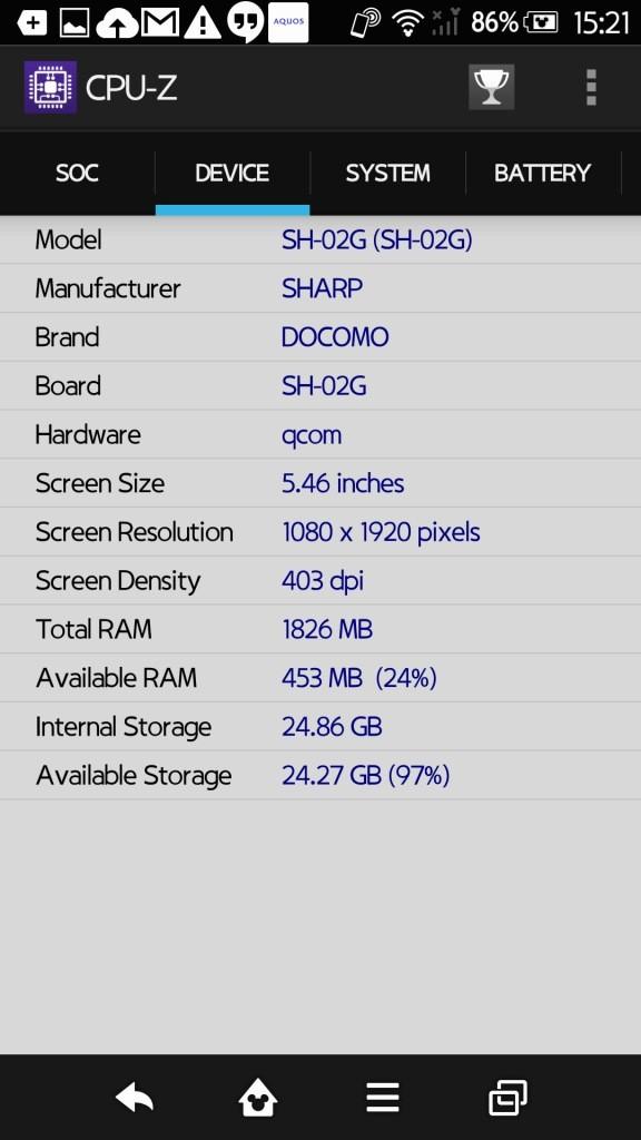 Disney Mobile on docomo SH-02G CPU-Z 4