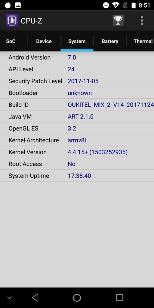 OKUKITEL MIX 2 CPU-Z 5