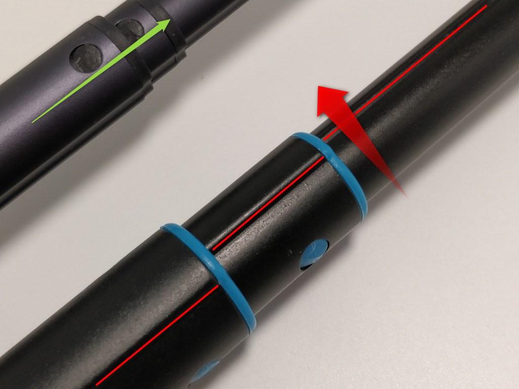 自撮り棒 ロッドが回転しない構造 ひねる