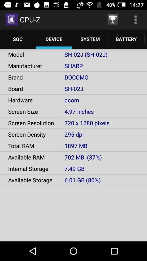 AQUOS EVER CPU-Z4