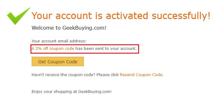Geekbuying 会員登録完了
