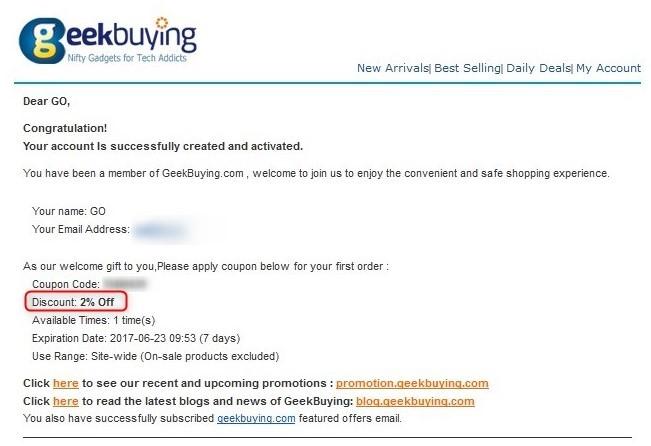 Geekbuying ユーザー登録 本登録