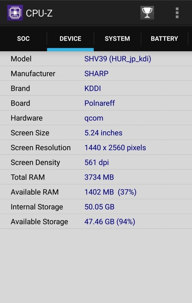 au:SHV39 CPU-Z3