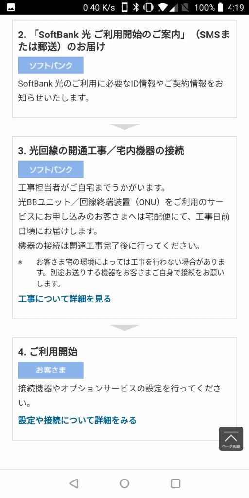 SoftBank光 ご利用までの流れ(新規・転用)2