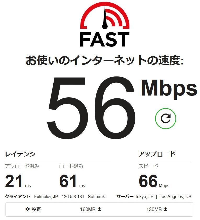 Fast スピードテスト56