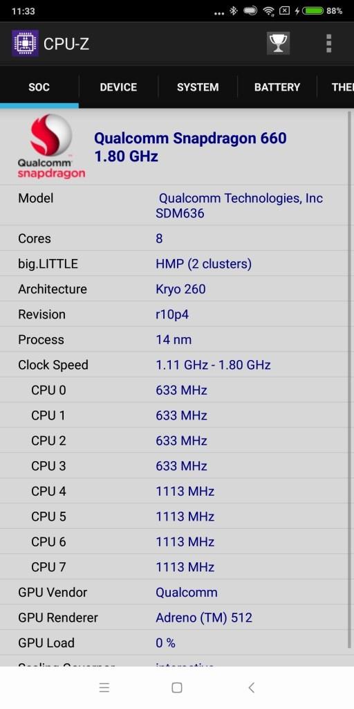 Xiaomi Mi Max 3 CPU-Z 1
