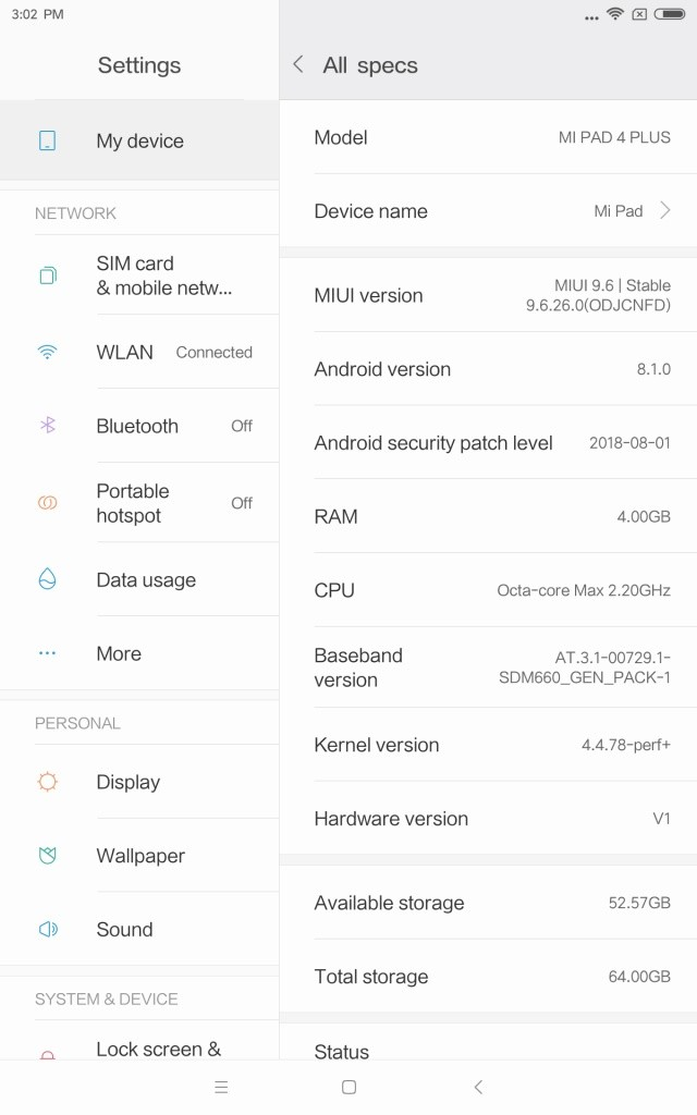 Xiaomi Mi Pad 4 Plus Spec