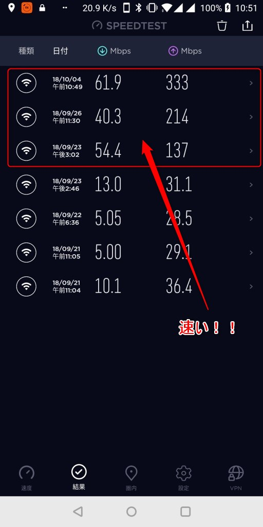 Wifi 5G 速い!!