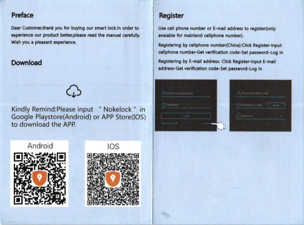 OKLOK Fingerprint Keyless Anti-theft Smart Lock 取説