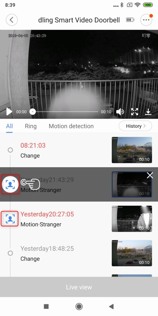 Xiaomi 電池駆動ナイトビジョンカメラ ドアベル 顔2