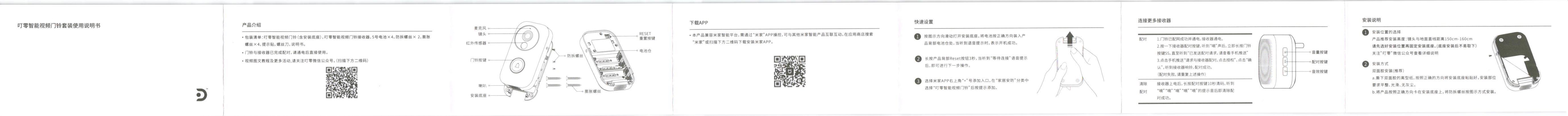 Xiaomi 電池駆動ナイトビジョンカメラ ドアベル 取説