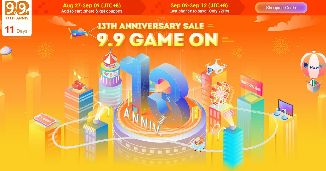 Banggood13周年記念 ウォームアップセール開始!