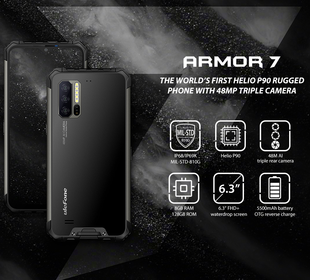 Ulefone Armor 7 IP68 IP69K Waterproof 6.3 inch 8GB 128GB 48MP Triple Camera